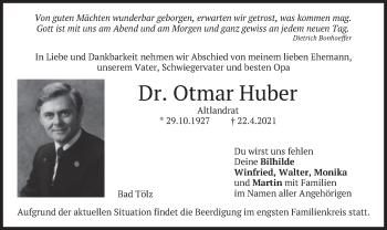 Traueranzeige von Otmar Huber von merkurtz