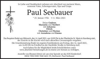 Traueranzeige von Paul Seebauer von merkurtz