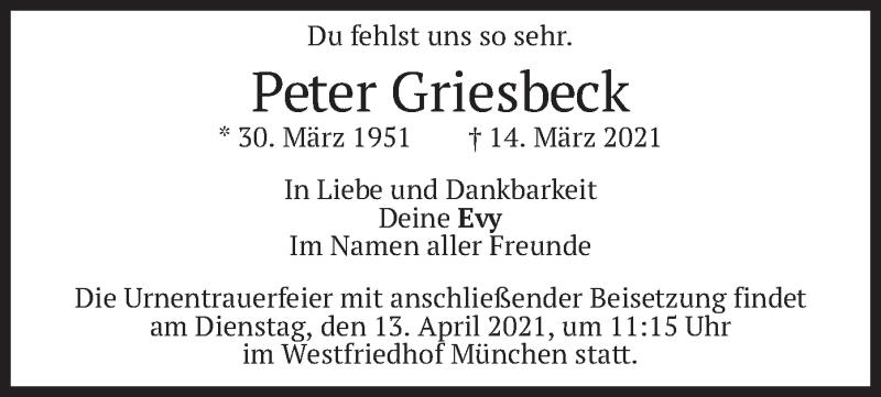 Traueranzeige für Peter Griesbeck vom 10.04.2021 aus merkurtz