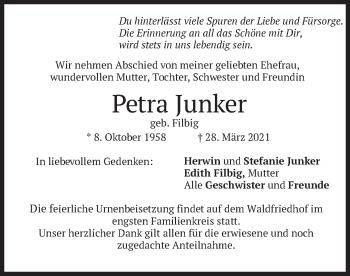 Traueranzeige von Petra Junker von merkurtz