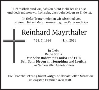 Traueranzeige von Reinhard Mayrthaler von merkurtz