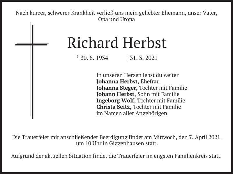 Traueranzeige für Richard Herbst vom 03.04.2021 aus merkurtz
