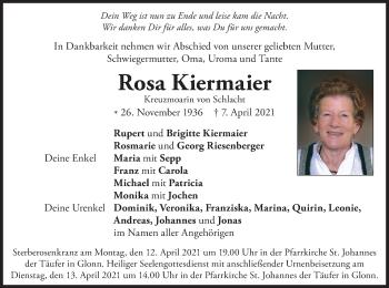 Traueranzeige von Rosa Kiermaier von merkurtz