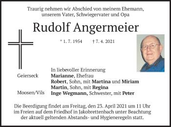 Traueranzeige von Rudolf Angermeier von merkurtz