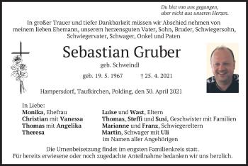 Traueranzeige von Sebastian Gruber von merkurtz