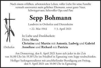 Traueranzeige von Sepp Bohmann von merkurtz