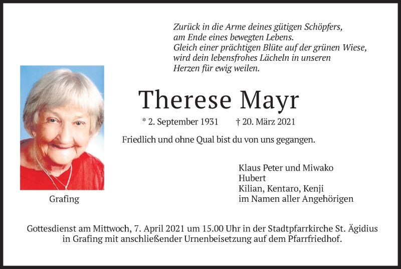 Traueranzeige für Therese Mayr vom 03.04.2021 aus merkurtz