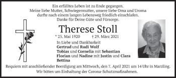 Traueranzeige von Therese Stoll von merkurtz