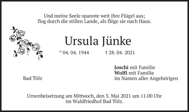 Traueranzeige für Ursula Jünke vom 30.04.2021 aus merkurtz