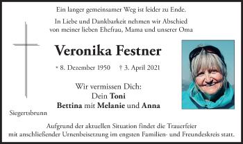 Traueranzeige von Veronika Festner von merkurtz