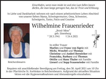 Traueranzeige von Wilhelmine Frauenrieder von merkurtz