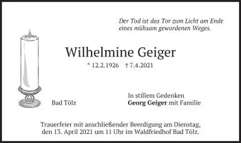 Traueranzeige von Wilhelmine Geiger von merkurtz