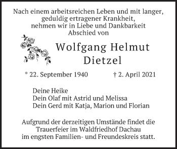 Traueranzeige von Wolfgang Helmut Dietzel von merkurtz