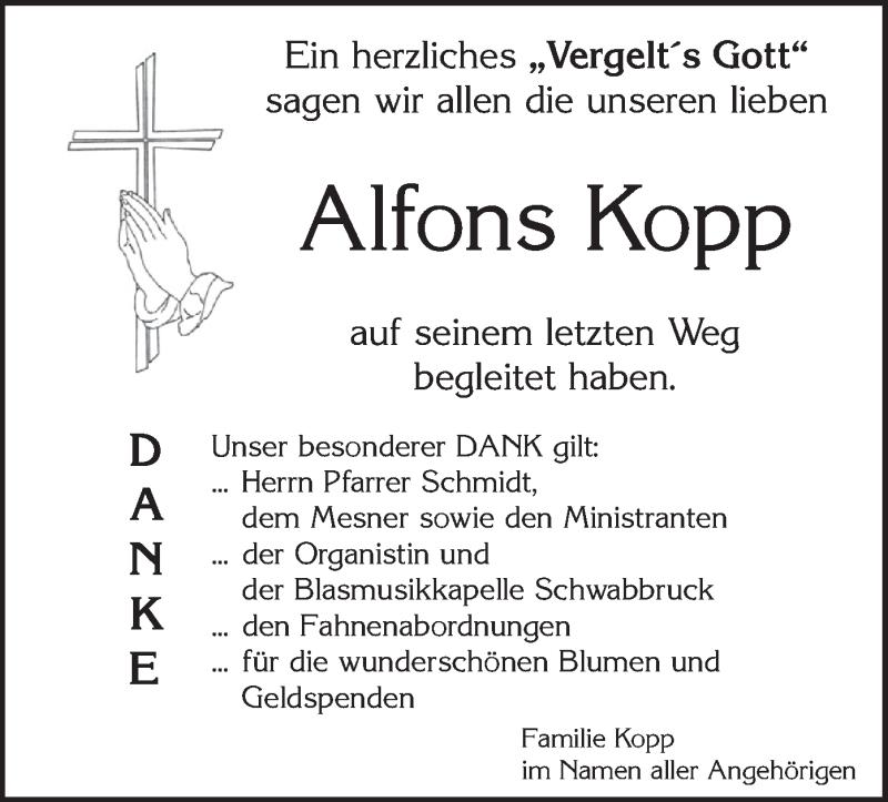 Traueranzeige für Alfons Kopp vom 04.05.2021 aus merkurtz