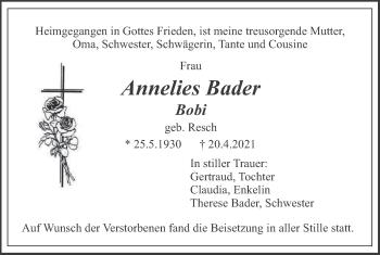 Traueranzeige von Annelies Bader von merkurtz