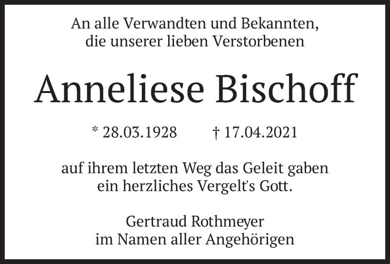 Traueranzeige für Anneliese Bischoff vom 08.05.2021 aus merkurtz