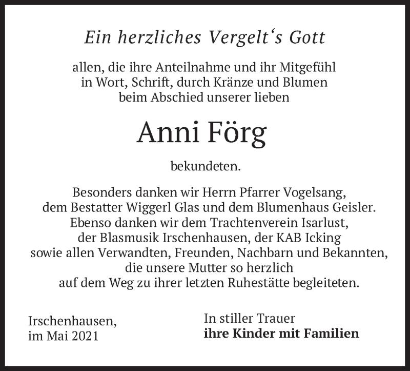Traueranzeige für Anni Förg vom 08.05.2021 aus merkurtz