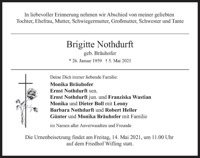 Traueranzeige für Brigitte Nothdurft vom 08.05.2021 aus merkurtz