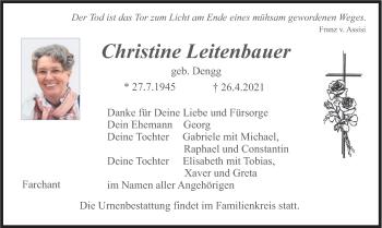 Traueranzeige von Christine Leitenbauer von merkurtz