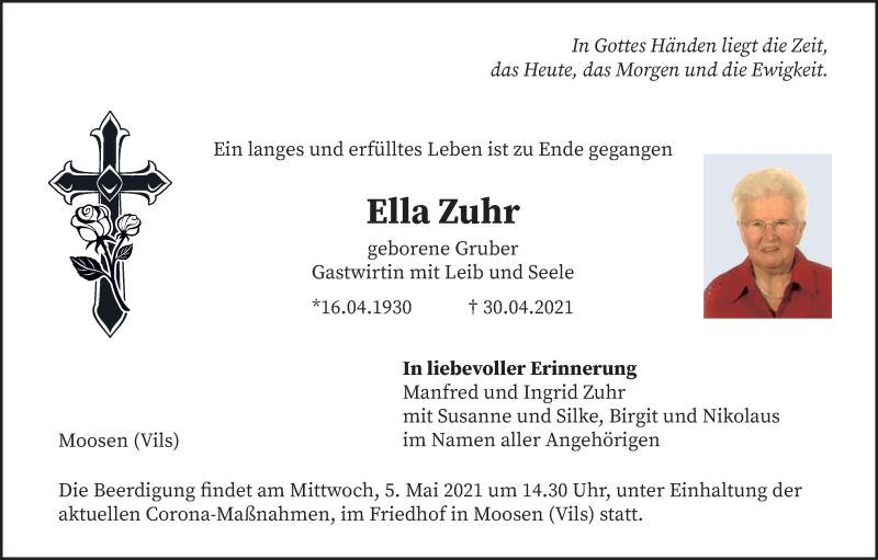 Traueranzeige für Ella Zuhr vom 04.05.2021 aus merkurtz