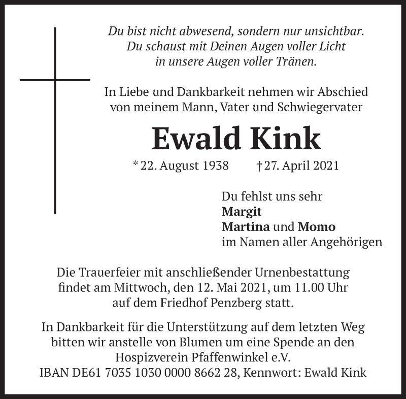 Traueranzeige für Ewald Kink vom 05.05.2021 aus Das Gelbe Blatt Penzberg