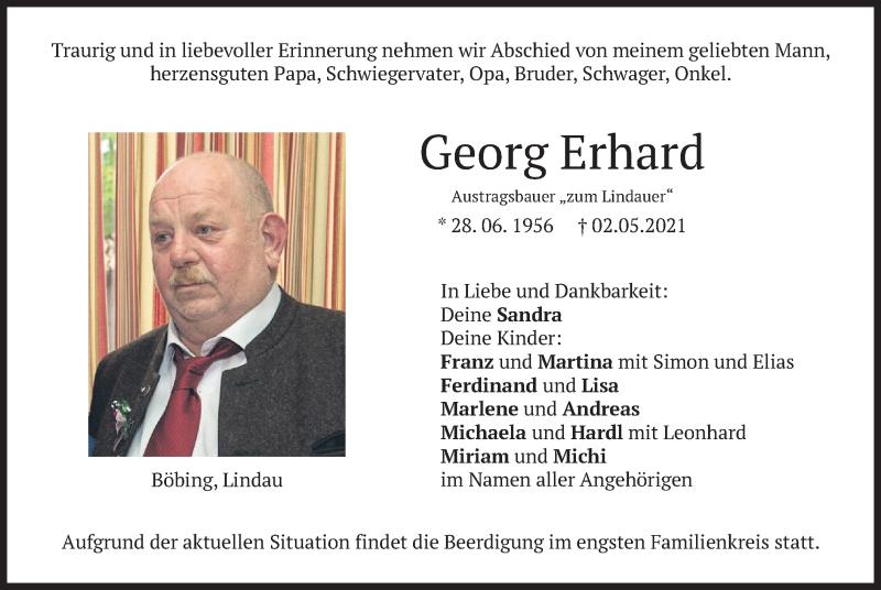 Traueranzeige für Georg Erhard vom 05.05.2021 aus merkurtz