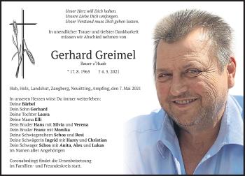 Traueranzeige von Gerhard Greimel von merkurtz