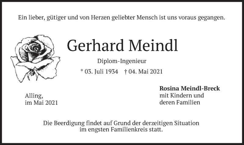 Traueranzeige für Gerhard Meindl vom 07.05.2021 aus merkurtz