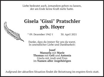 Traueranzeige von Gisela Pratschler von merkurtz