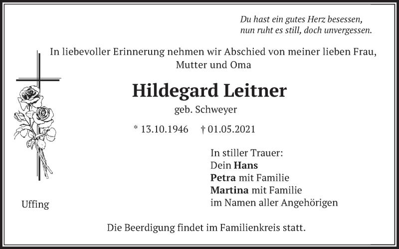 Traueranzeige für Hildegard Leitner vom 03.05.2021 aus merkurtz
