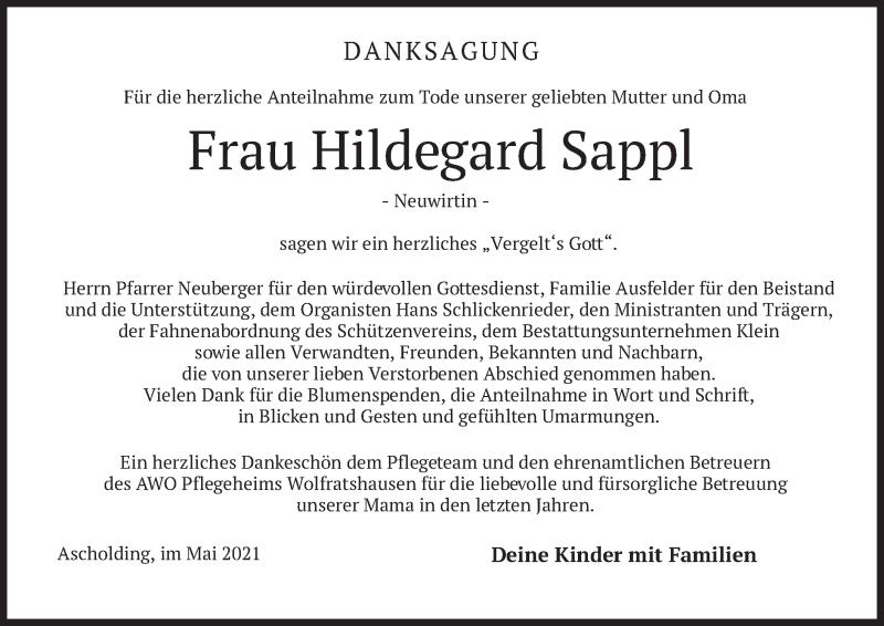 Traueranzeige für Hildegard Sappl vom 08.05.2021 aus merkurtz