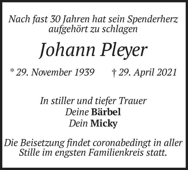 Traueranzeige für Johann Pleyer vom 03.05.2021 aus merkurtz