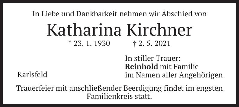 Traueranzeige für Katharina Kirchner vom 04.05.2021 aus merkurtz