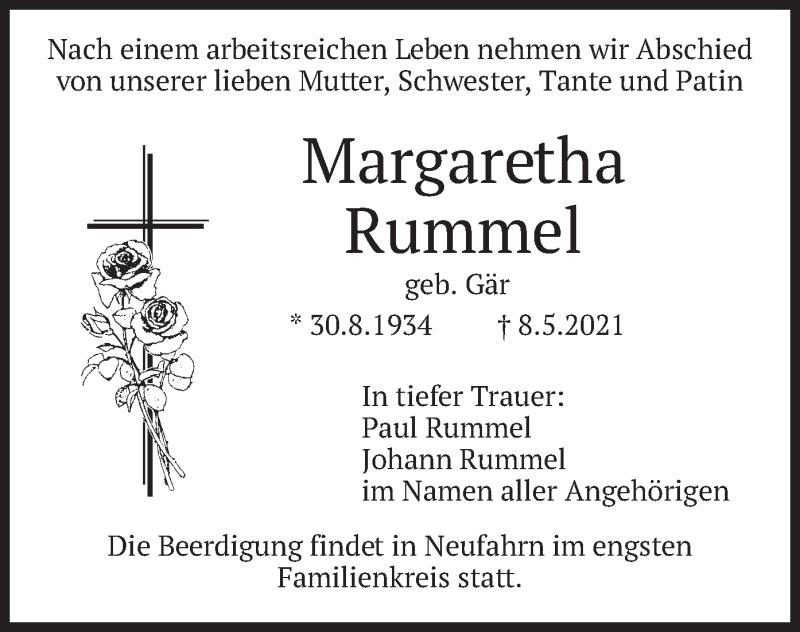 Traueranzeige für Margaretha Rummel vom 10.05.2021 aus merkurtz