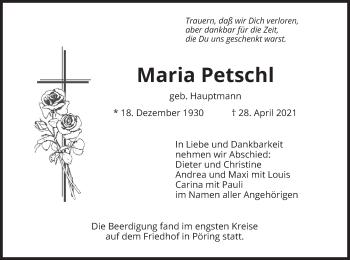Traueranzeige von Maria Petschl von merkurtz