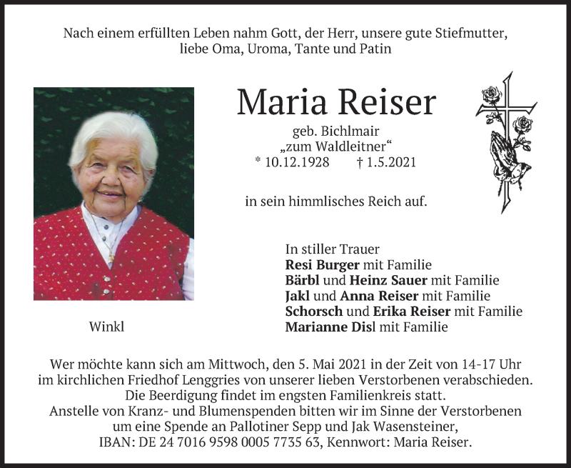 Traueranzeige für Maria Reiser vom 04.05.2021 aus merkurtz