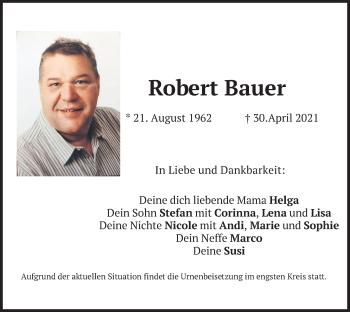 Traueranzeige von Robert Bauer von merkurtz