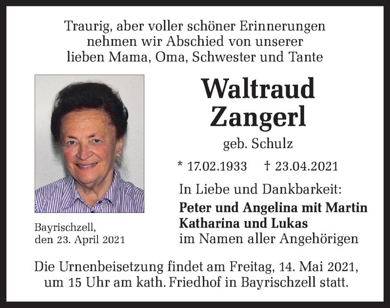 Traueranzeige für Waltraud Zangerl vom 08.05.2021 aus merkurtz