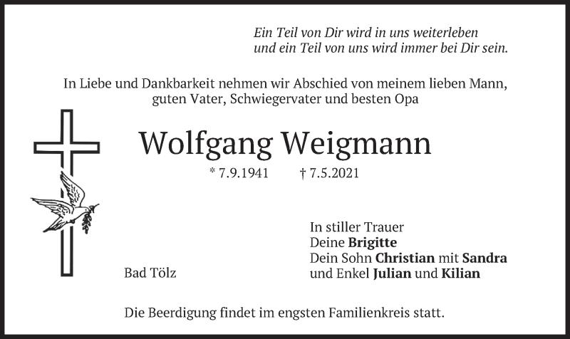 Traueranzeige für Wolfgang Weigmann vom 08.05.2021 aus merkurtz