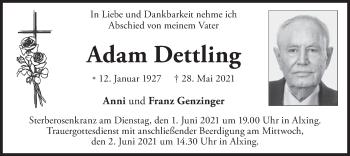 Traueranzeige von Adam Dettling von merkurtz