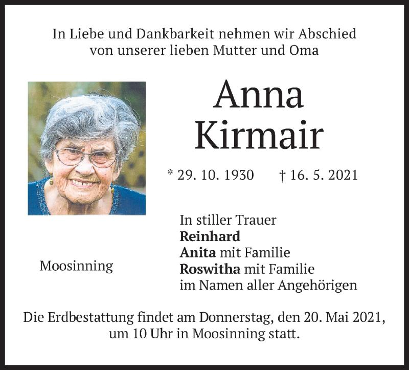 Traueranzeige für Anna Kirmair vom 18.05.2021 aus merkurtz