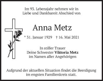 Traueranzeige von Anna Metz von merkurtz