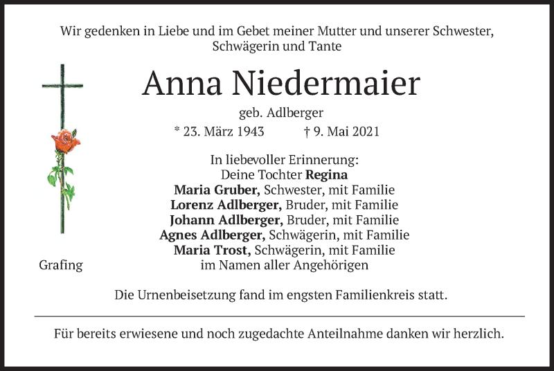 Traueranzeige für Anna Niedermaier vom 22.05.2021 aus merkurtz