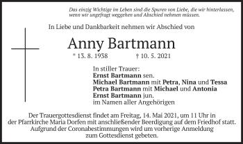 Traueranzeige von Anny Bartmann von merkurtz