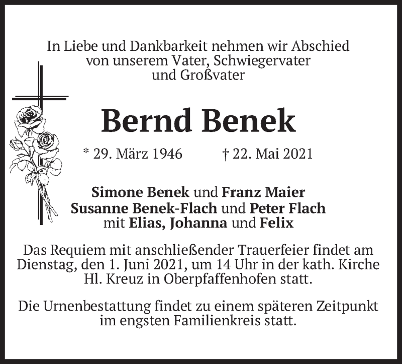 Traueranzeige für Bernd Benek vom 29.05.2021 aus merkurtz