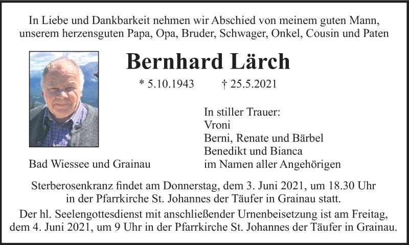 Traueranzeige für Bernhard Lärch vom 29.05.2021 aus merkurtz