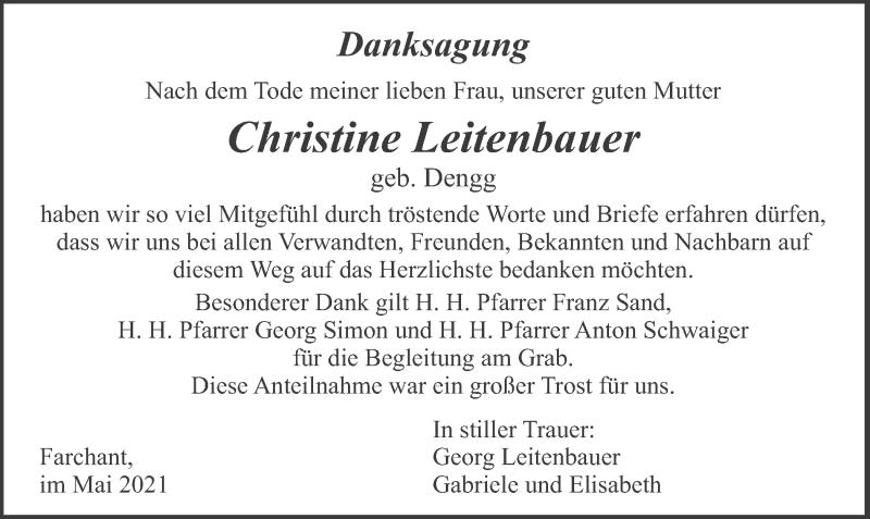 Traueranzeige für Christine Leitenbauer vom 22.05.2021 aus merkurtz