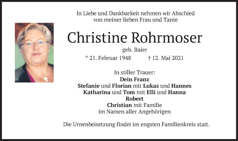Traueranzeige für Christine Rohrmoser vom 22.05.2021 aus merkurtz