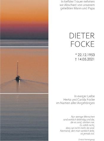 Traueranzeige von Dieter Focke von merkurtz