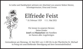 Traueranzeige von Elfriede Feist von merkurtz